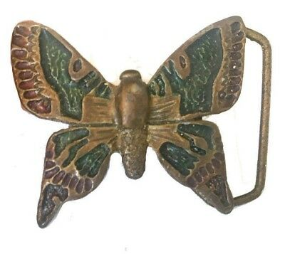 Vtg Butterfly Belt Buckle Solid Brass Monarch Insect Daisy Girls Gold Cute Wings