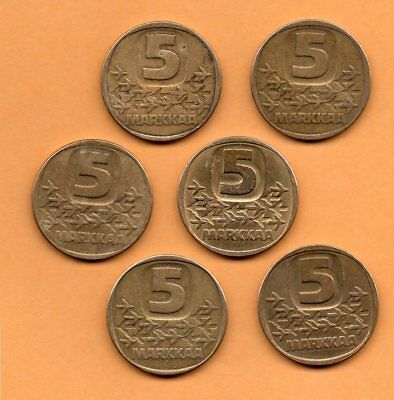 1979 to 1990 Finland 5 Markka Coin Lot of 6