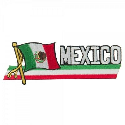 """MEXICO FLAG EMBROIDERED CUTOUT PATCH 1.5 x 4.5""""  - NEW - FREE SHIPPING"""