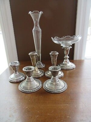 7 pcs WEIGHTED Sterling Silver Mixed Lot Candle Holders Compote Scrap or Not