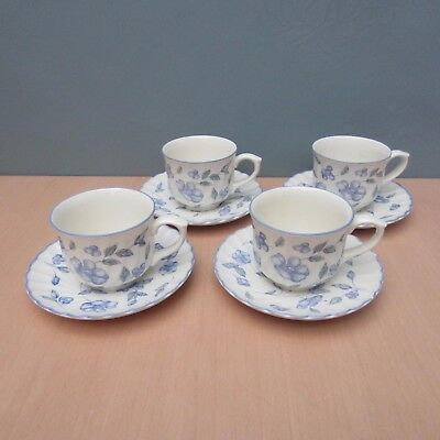 """4 Bhs (British Home Stores)  """"bristol Blue""""  Cups And Saucers"""