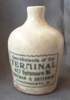 OHIO MINIATURE WHISKEY JUG-Stenciled-Compliments Of The Terminal-Cincinnati-1890