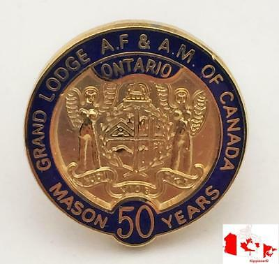 Vintage Masonic Grand Lodge ON AF&AM of Canada 50yrs Mason Pin Back