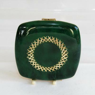Vintage Melissa Powder Compact  - Dark Green Marble Effect, Gold Decoration