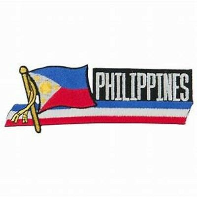 """PHILIPPINES FLAG EMBROIDERED CUTOUT PATCH 1.5 x 4.5""""  - NEW - FREE SHIPPING"""