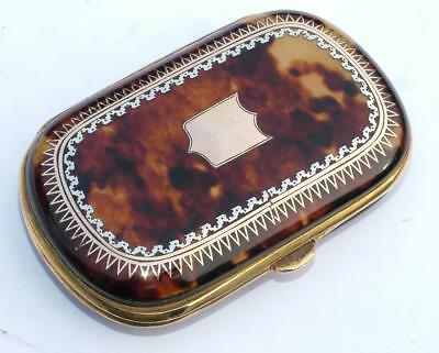 Exquisite 19Th Century Antique Gold & Silver Inlaid Faux Tortoiseshell Purse