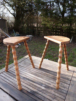 Lovely Pair Of Antique Vintage Rustic Elm Three Bobbin Legged Stools