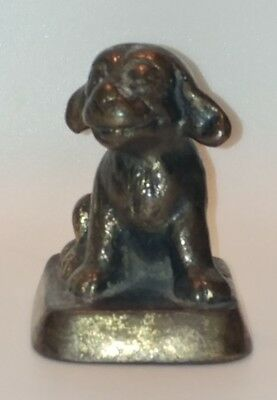 Antique Cast Iron Brass Finish Sitting Puppy Dog Figural Paperweight Frick Co.