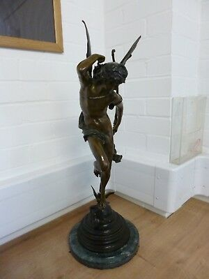 Jules-Felix Coutan, Rome, 19th Century Bronze Sculpture of Cupid on Marble Base