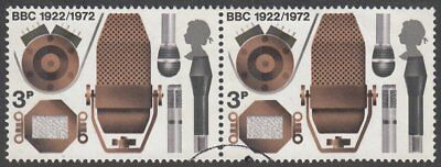 Great Britain, 1972 3p BBC 'MISSING YELLOW' Pair Caused by Huge Colour Shift F/U