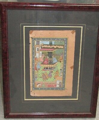 Antique Old Watercolor Gilt Miniature Persian Painting Framed