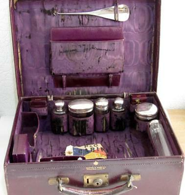 Antique Morocco Leather Case by Mappin & Webb - 6 Silver bottles, Ink, Vesta etc