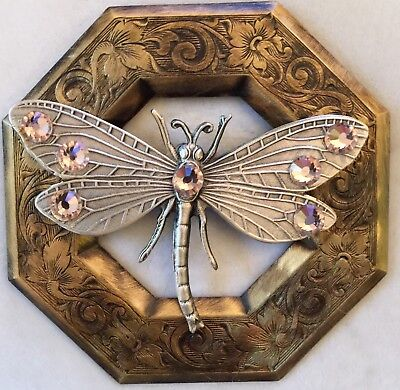 "SUPER EXTRA LARGE 3"" INCH Silvered Brass ""JUMBO PINK JEWELED DRAGONFLY""Button"