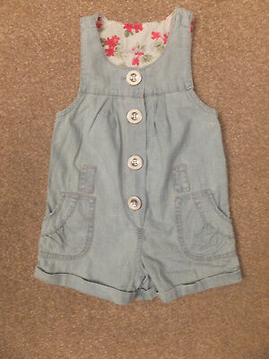 Girl 2 Girl / Primark girls light blue button front shorts playsuit Age 2-3 y