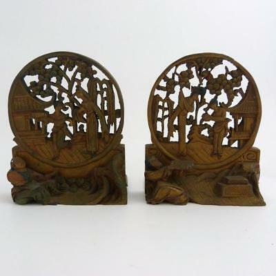 Pair Of Chinese Carved Wood Table Screens, 19Th Century