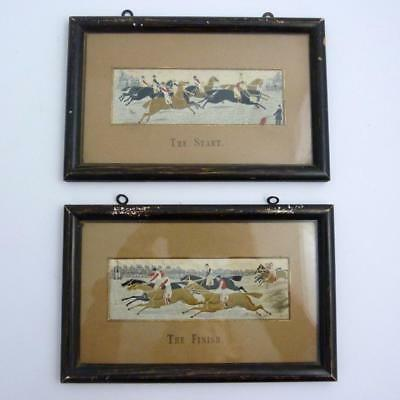 Antique Pair Of Victorian Silk Stevengraphs, The Start & The Finish Horse Racing