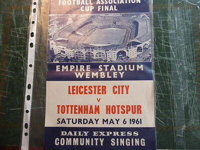 1961 Fa Cup Final  Spurs V Leicester City Songsheet
