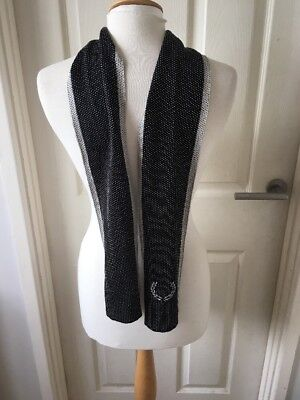 Men's Fred Perry Black And White Spot Silk Scarf