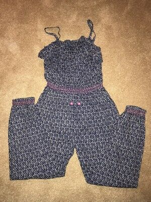 Monsoon Girls Jumpsuit Navy Patterned Age 9