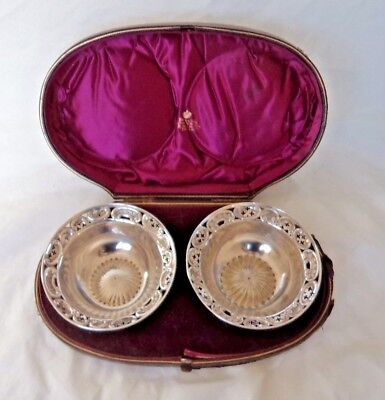 PAIR LARGE ORNATE SCOTTISH VICTORIAN c1890 CASED STERLING SOLID SILVER BOWLS