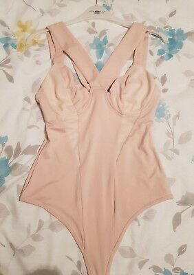 missguided nude strappy bandage structured suspender bodysuit size 8
