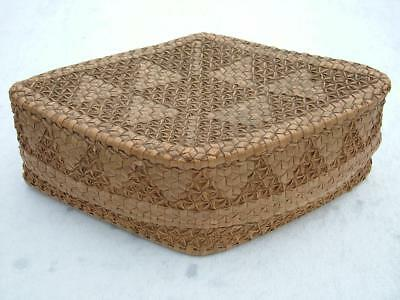 EARLY 1800's CHINESE LIDDED WOVEN BASKET CONTAINED MOP GAMING COUNTERS