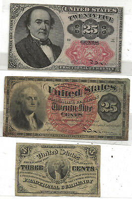 USA Fractional Currency Four Notes 3 Cent Washington 25c Vintage Paper Money