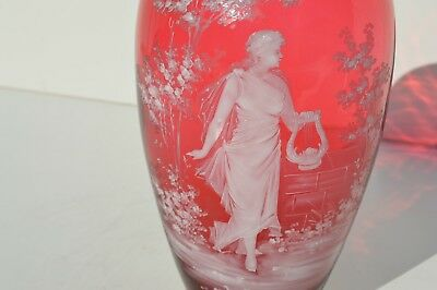 The Best Antique Mary Gregory Cranberry Art Glass Vase Depicts A Beautiful Nymph
