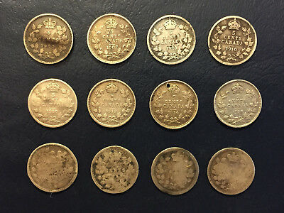 (12) 1882-1918 Canada Silver (92.5%)  5 cent coins - Filler Set - coins w/ flaws