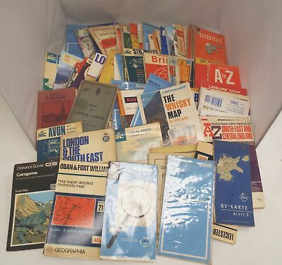 Vintage Approx 95X MAPS Including ORDNANCE, STREET MAPS, ROAD MAPS Etc - C12