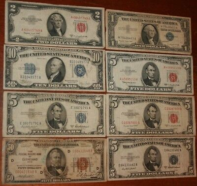 USA 1929 Brown Seal $50.00 Silver Certificates $83.00 Face Vintage Paper Money