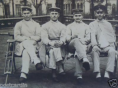 Rppc Military Soldier Group, Wounded Warriors, Ww1 Real Photo Bw Unused Postcard