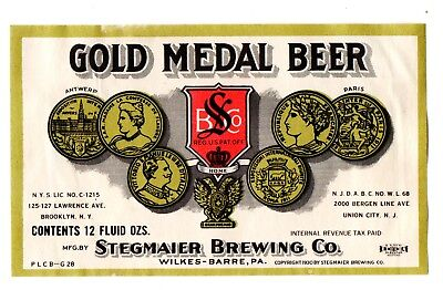 1930s STEGMAIER BREWING CO, WILKES-BARRE PENNSYLVANIA GOLD MEDAL BEER IRTP LABEL