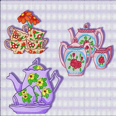 FLORAL TEATIME BLOCKS 12 MACHINE EMBROIDERY DESIGNS CD includes extras