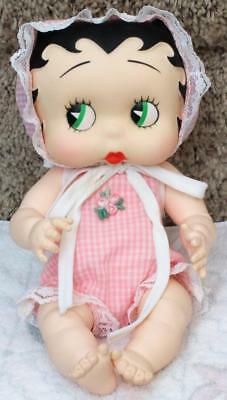 "VINTAGE 1985 BETTY BOOP 10"" VINYL BABY LIMITED ED DOLL in PINK GINGHAM OUTFIT"