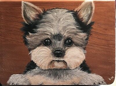 Hand Painted Art Yorkshire Terrier Yorkie Dog Wood Book Box Treat/toy Storage