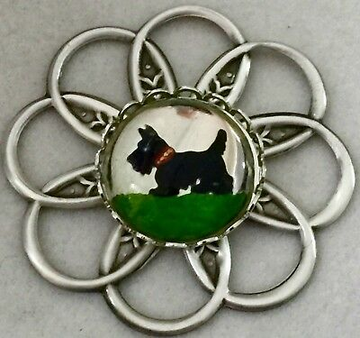 "GLASS SCOTTY DOG~HIGH DOMED  GLASS CUTE PICTURE BUTTON~Silvered Brass~1 3/4""INCH"