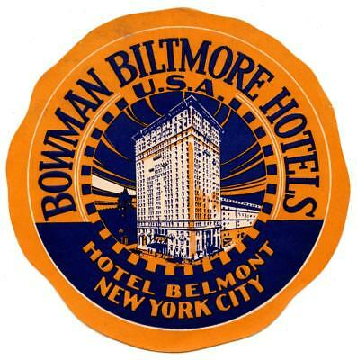Hotel Belmont New York City Bowman Biltmore Original Vintage Deco Luggage Label