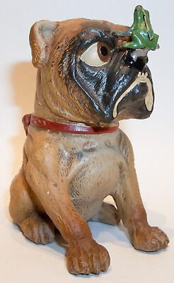 Whimsical Antique Cast Lead Cross Eyed English Bulldog w/ Frog on Nose Very Cute