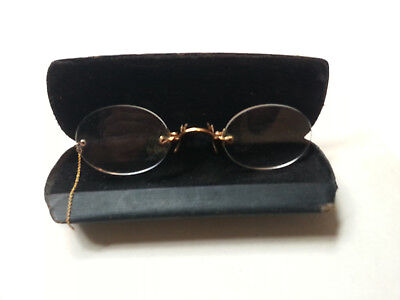 Antique Gold Tone Metal Pince Nez Spectacles with Case Steam Punk