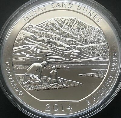 2014 5 oz Silver America the Beautiful Great Sand Dunes BU Coin with Capsule
