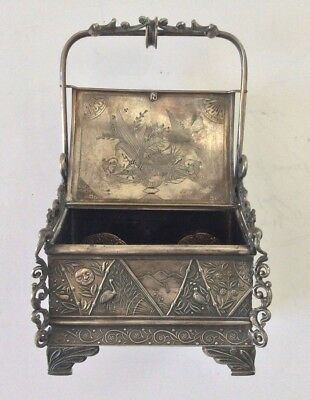 Rare Antique Aesthetic Movement Silver Plate Highly Ornate Jewelry Box