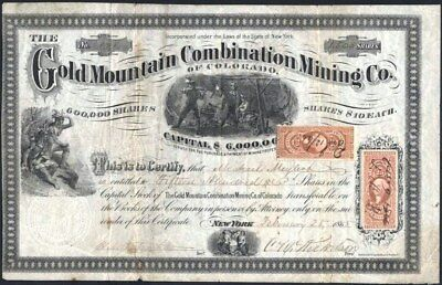 Gold Mountain Combination Mining Co Of Colorado, 1865, Wonderful Territorial Cft