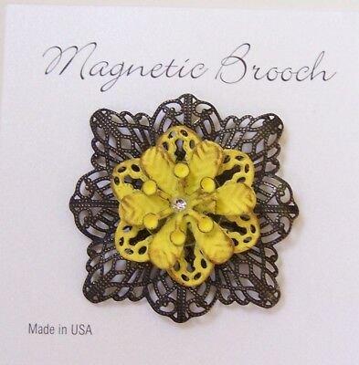 Magnetic Brooch Clip Clasp Pin Brushed Gold Yellow Metal Flower Scarves Shawl