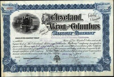 Cleveland, Akron And Columbus Railway Co, 1901 Stock Certificate