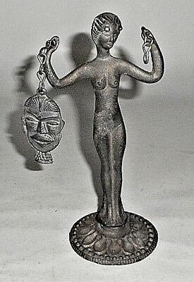 FABULOUS Old Vintage Cast Iron METAL STATUE HORNED WOMAN STANDING HOLDING MASK
