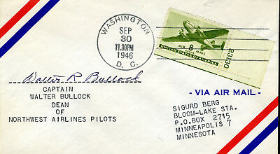 Walter Bullock Early Bird, Dean Of Nw Airlines Pilots Signature 1946