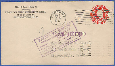 S444 - Auxillary markings, 2c stationery from Cemetery, Gloversville NY local