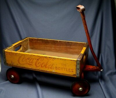 RARE 1930s 40s Coca Cola Wooden Childs Wagon Signed Made By Atlanta Wagon Co. NR