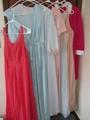 Lot of 7 Vtg Nightgowns Vanity Fair Lorraine Van Raalte Lace Chiffon Size L